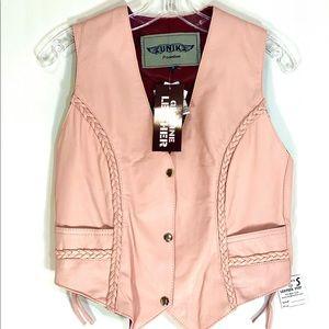 UNIK Pink Leather Vest New w/Tags!